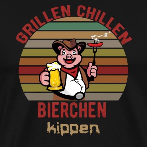 Grillen Chillen Bierchen Kippen Lustiges Humorvol - Männer Premium T-Shirt