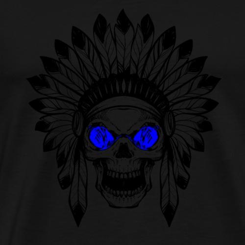 Geschenk - INDIANER TOTENKOPF blau - Männer Premium T-Shirt