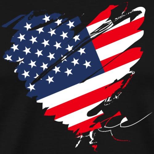USA Amerika Sterne und Streifen Herz Grunge Flagge - Men's Premium T-Shirt