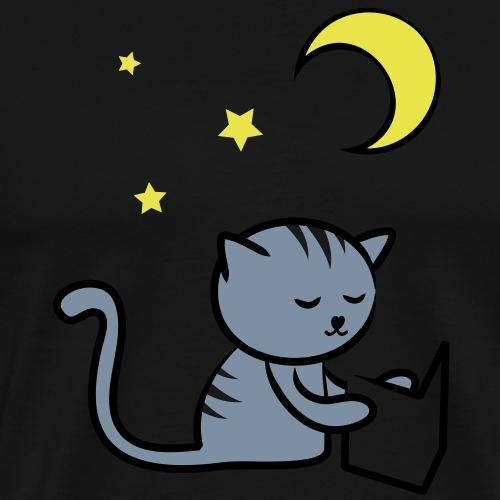 Chat qui lit un livre la nuit - T-shirt Premium Homme