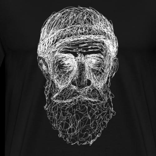 Bärtiger alter Mann, Lineart - Männer Premium T-Shirt
