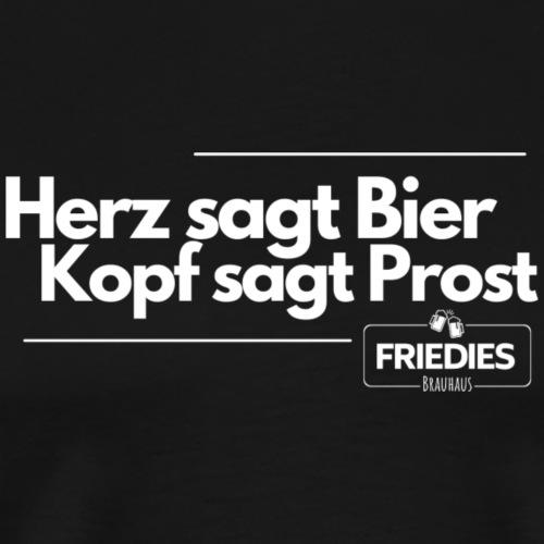 Herz sagt Bier - Männer Premium T-Shirt