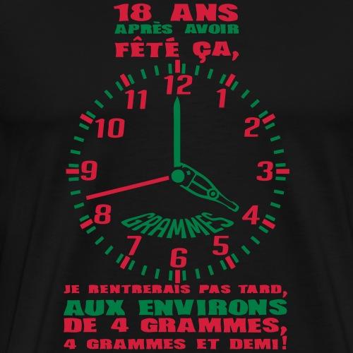 18 ans horloge grammes anniversaire alco - T-shirt Premium Homme