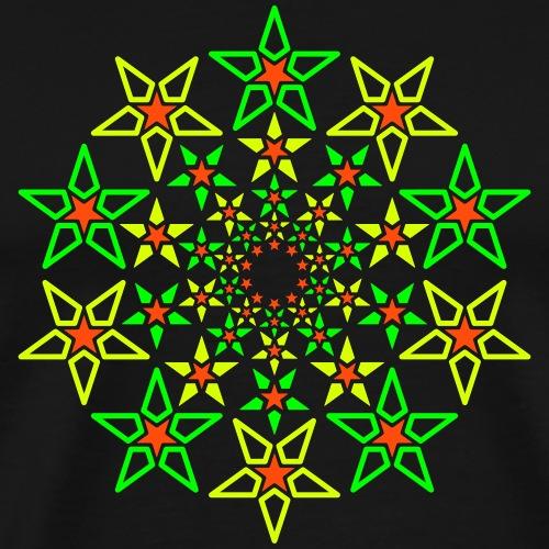 Fractal Star 3 färg neon - Premium-T-shirt herr