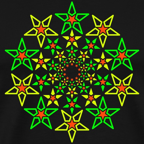 Fractal Star 3 farge neon - Premium T-skjorte for menn
