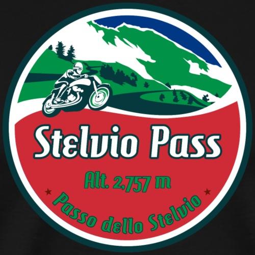Stelvio Pass Motorcycle Sticker T-Shirt Design 01 - Men's Premium T-Shirt