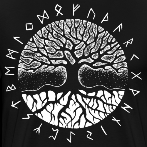 Yggdrasil der Weltenbaum mit älterem Futhark - Männer Premium T-Shirt