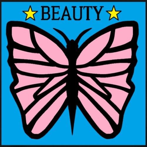 Fjäril motiv. Beauty rosa, svart och gul. - Premium-T-shirt herr