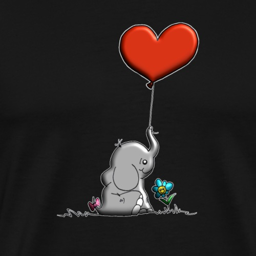 Éléphant, coeur rouge, der Elefant - T-shirt Premium Homme