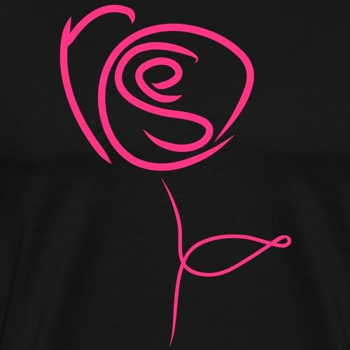 Rose en calligramme - T-shirt Premium Homme