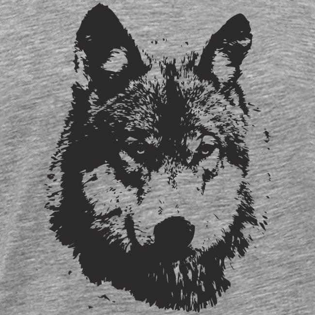 illustration te e te de loup noire