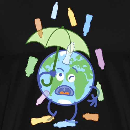 Earth protecting from plastic bottles rain - Men's Premium T-Shirt