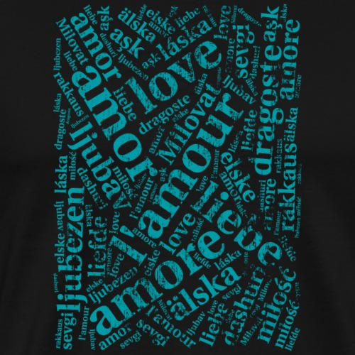 Cover - Love in verschiedenen Sprachen - Wortwolke - Männer Premium T-Shirt