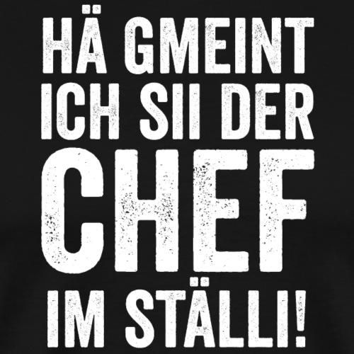 HÄ GMEINT ICH SII DER CHEF IM STÄLLI - Männer Premium T-Shirt