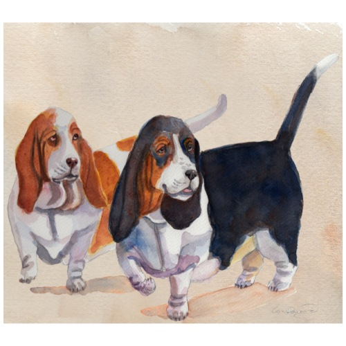 Basset hound_double-trot - Herre premium T-shirt