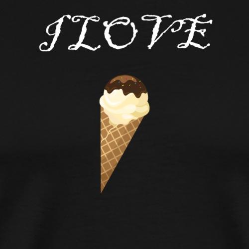 I love Eiscream Eis Waffel Eiswaffel Shirt - Männer Premium T-Shirt