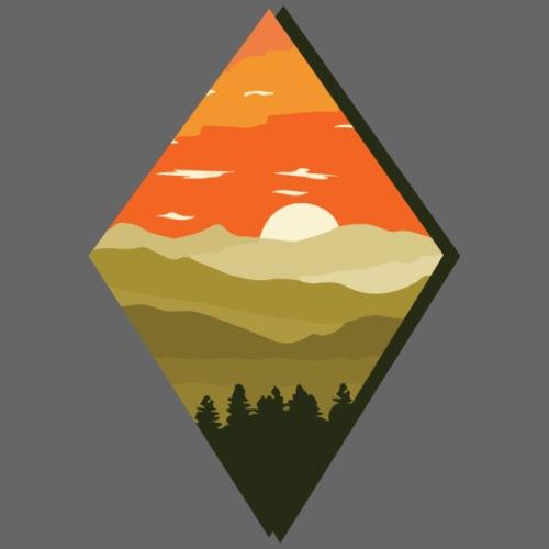 Sonnenuntergang | Wald Dämmerung Raute Baum - Männer Premium T-Shirt