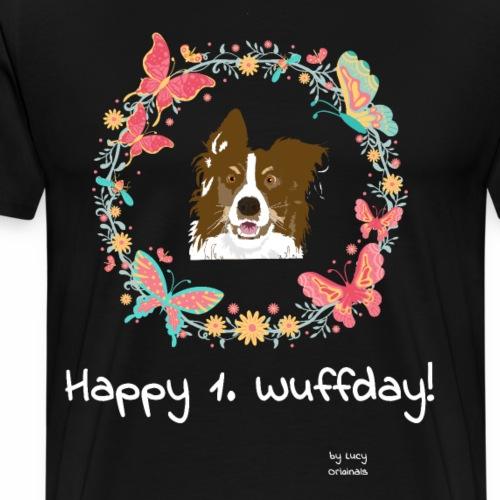 Happy 1 Wuffday Red Butterfly - Männer Premium T-Shirt