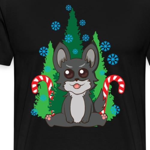 süßer Weihnachtspulli Katze Hund - Männer Premium T-Shirt