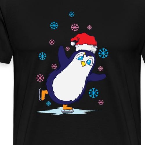 Weihnachten Pinguin Schlittschuh laufen - Männer Premium T-Shirt