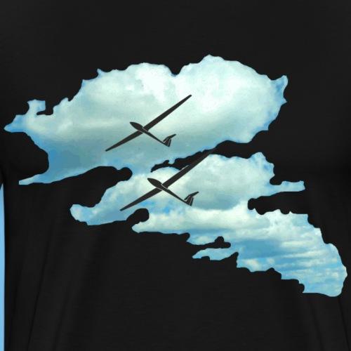 Wolkenstraße mit Segelflugzeug Segelflieger gleite - Männer Premium T-Shirt