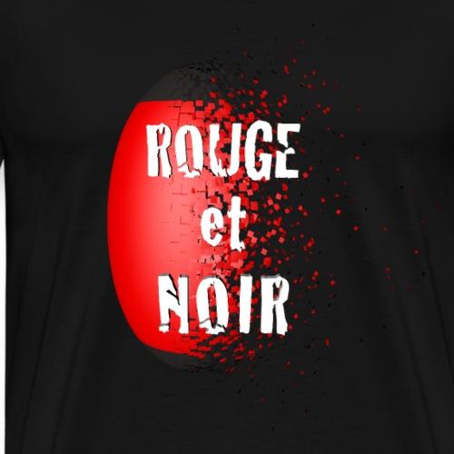 Rugby, ROUGE ET NOIR - T-shirt Premium Homme