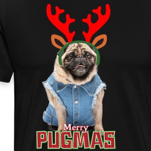 Bulldog Francés Navideño con cuernos de Reno - Camiseta premium hombre