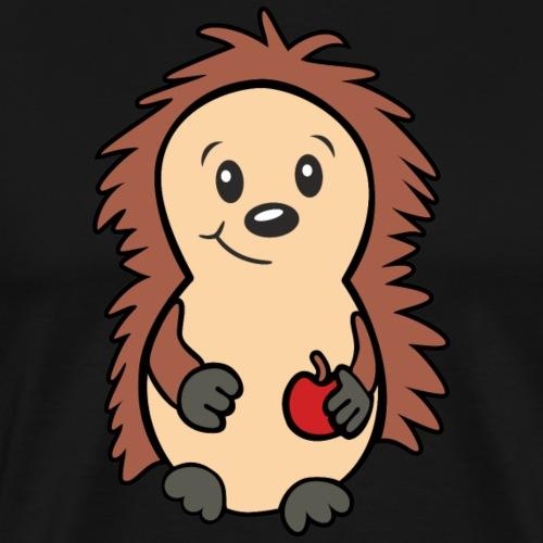 Igel mit Apfel in der Hand - Männer Premium T-Shirt