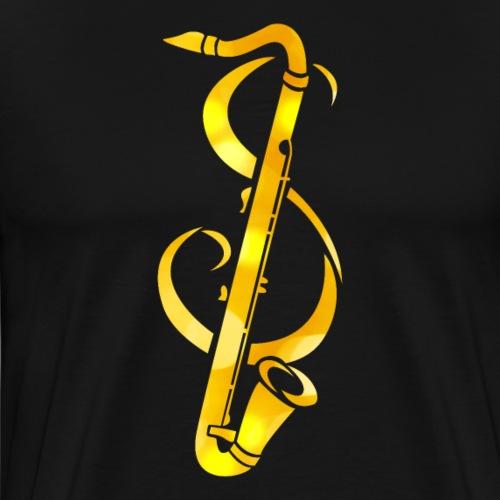 Goldenes Saxophone mit Notenschlüssel - Männer Premium T-Shirt