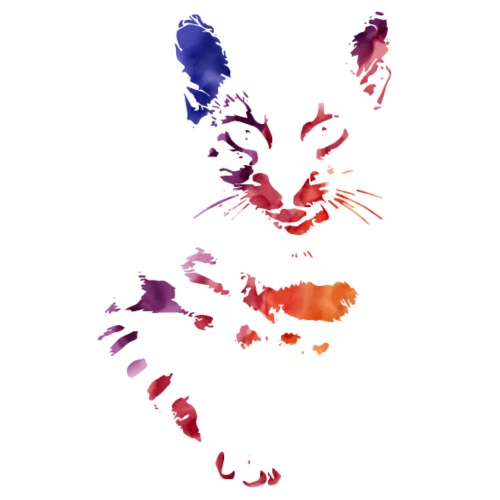 Katze Aquarell für dunklen Hintergrund - Männer Premium T-Shirt