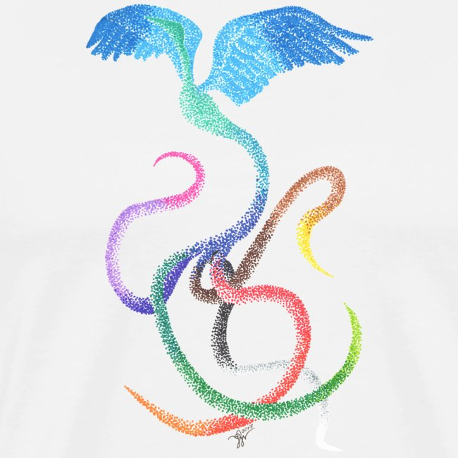 Graceful - Rainbow Bird in Ink