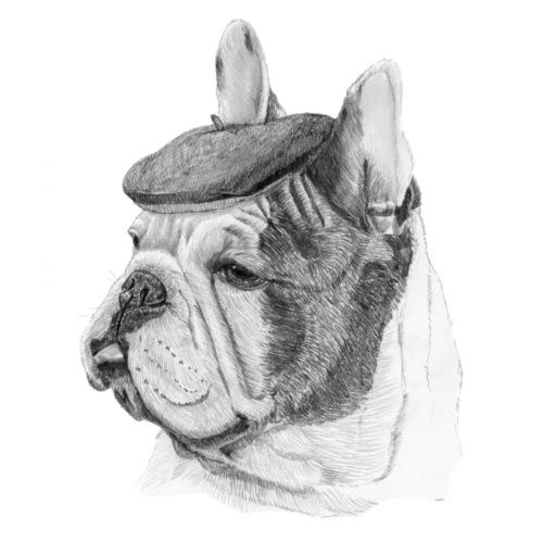 French Bulldog w/beret - Herre premium T-shirt