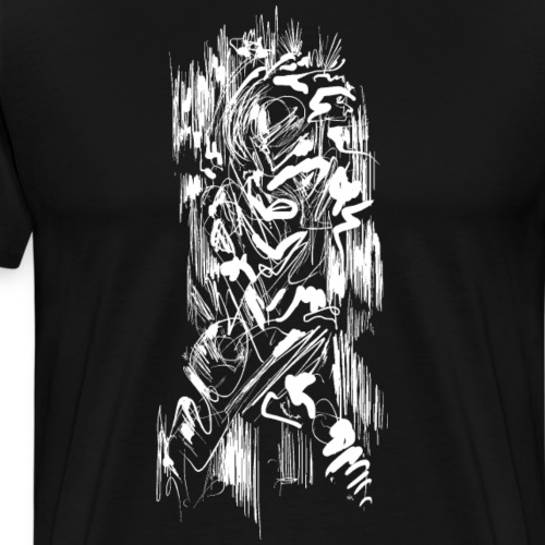 Samurai / White - Abstract Tatoo - Men's Premium T-Shirt