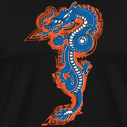 DRAGON AZUL Y NARANJA - Camiseta premium hombre