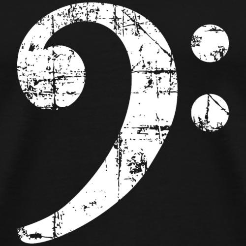 Bassschlüssel Vintage Bassisten Design (Weiß) - Männer Premium T-Shirt