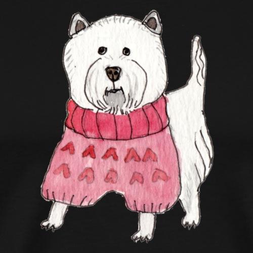 westie with sweater - Herre premium T-shirt