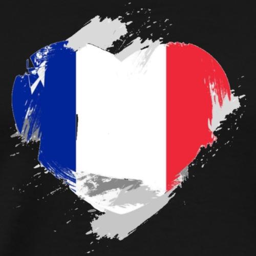 Herz französische Flagge transparent - Männer Premium T-Shirt
