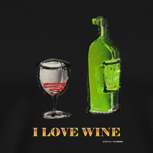 FLES - I LOVE WINE - Mannen Premium T-shirt