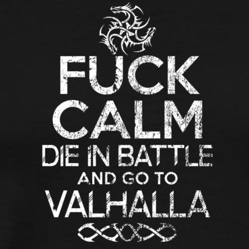 valhalla dragon logo fuck calm - Herre premium T-shirt