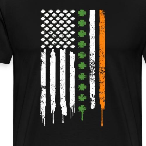 St Patricks Day Irisch Amerikanische Flagge Shirt - Männer Premium T-Shirt