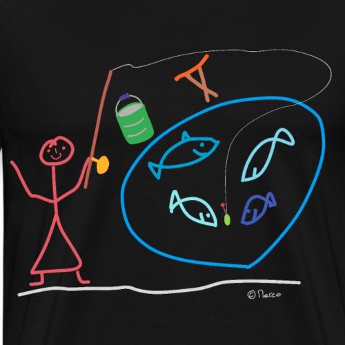 Anglerin Strichmännchen, Frau Hobby Arbeit Job - Männer Premium T-Shirt
