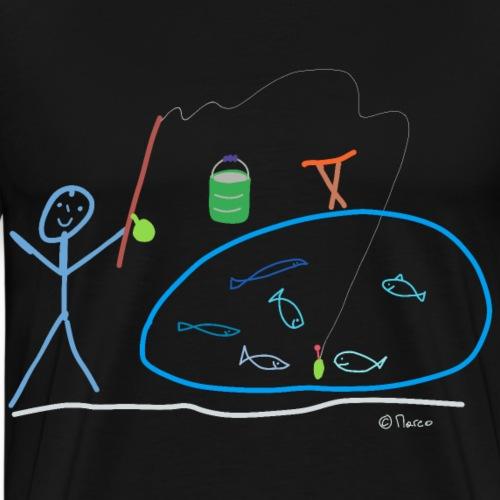 Angler Strichmännchen, Fisch Hobby Freizeit Beruf - Männer Premium T-Shirt