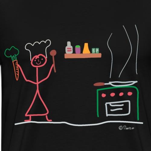 Köchin Strichmännchen, Frau Restaurant Küche - Männer Premium T-Shirt