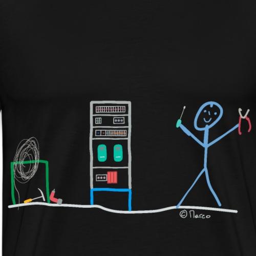 Elektriker Stricjmännchen, Arbeit Installateur Job - Männer Premium T-Shirt