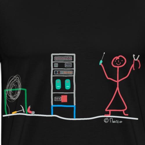 Elektriker Strichmännchen, Elektroinstalleur Frau - Männer Premium T-Shirt