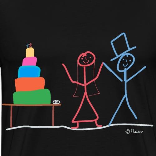 Ehepaar Strichmännchen, Valentinstag Hochzeit Ehe - Männer Premium T-Shirt