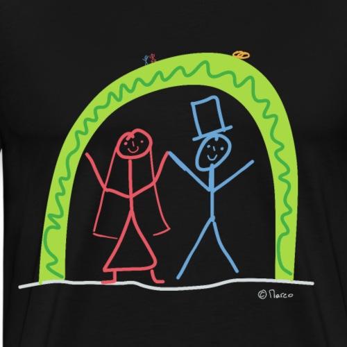 Ehe Strichmännchen, heiraten Valentinstag Liebe - Männer Premium T-Shirt