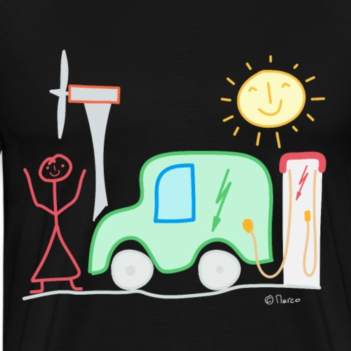 E-Auto Strichmännchen Frau Windrad Ladesäule Sonne - Männer Premium T-Shirt