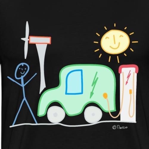 E-Auto Strichmännchen Sonne Ladesäule Spannung - Männer Premium T-Shirt