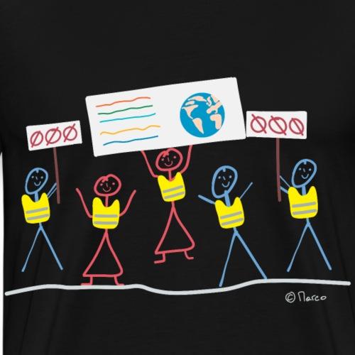 Demonstration Strichmännchen Gelbwesten Klima Frau - Männer Premium T-Shirt
